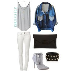 Wear white-on-white with some denim and studs in-between for that street chic look! www.dressi.ly