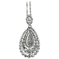 Garland Style Edwardian Diamond Platinum Pendant. Edwardian 'Garland Style' made famous by Cartier and Faberge platinum and diamond pendant, ca. 1910 – 1915