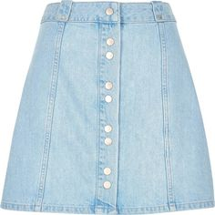 River Island Light denim button-up A-line skirt ($50) ❤ liked on Polyvore featuring skirts, bottoms, denim skirt, women, blue denim skirt, button front denim skirt, a line skirt and knee length denim skirt