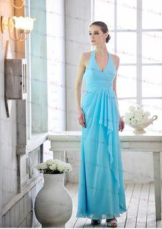 Chiffon Prom Dress,light Blue Prom Dress,halter Prom Dress,long Prom Dress,Sexy Prom Dresses,prom Dr on Luulla