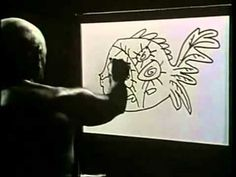 Pablo Picasso - 2:00min -- Pablo draws flowers which turn into fish which turn into rooster!