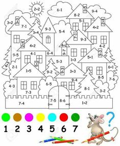 Educational page with exercises for children on addition and subtraction. Need to solve examples and to paint the image in relevant colors. Developing skills for counting. Math Coloring Worksheets, Kindergarten Math Worksheets, Teaching Math, Math Activities, Preschool Activities, Spanish Teaching Resources, Preschool Colors, Number Worksheets, Camping Activities