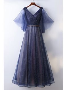 Beautiful Flowy Navy Blue Long Cheap Prom Dress With Bling