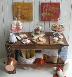 Miniature Country Bakery table/ Kitchen by HamptonIvyDesigns