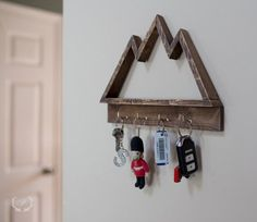Wood mountain shelf, wood mountain keyrack by ParkinHandmade on Etsy