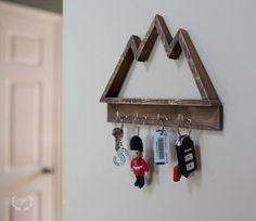 Wood mountain shelf, wood mountain keyrack by ParkinHandmade on Etsy