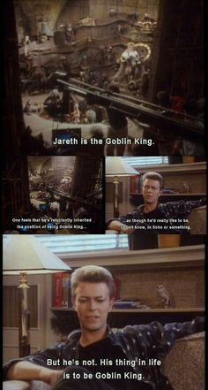 Jareth and his thing. David Bowie Interview, Jim Henson Labyrinth, Labyrinth 1986, Labyrinth Movie, David Bowie Labyrinth Quotes, The Dark Crystal, Goblin King, Good Movies, The Thin White Duke