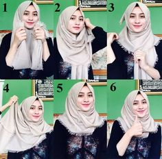 Simple Hijab Styles for School Square Hijab Tutorial, Simple Hijab Tutorial, Pashmina Hijab Tutorial, Hijab Style Tutorial, Hijab Style Dress, Casual Hijab Outfit, Hijab Chic, Hijab Fashion Inspiration, Trend Fashion