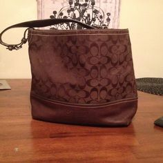 Coach bag Large brown coach bag with leather and c's good condition! Little worn on corners shown in pictures Coach Bags