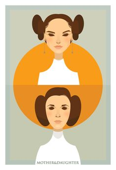 """Padme and Leia"" by Stanley Chow, £20.00 #starwars    I love how Stanley Chow accentuated the resemblances between mother and daughter by keeping everything geometric and simple and how he joins the two portraits with a circle encompassing them. The impact of their similarities rests in the simplicity and same basic lines."