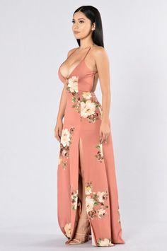 Rosebud Dress - Salmon Floral