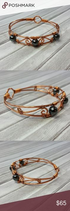 Hematite Copper Wire Bangle Bracelet Handmade Handmade Hematite and Copper Wire Wrapped Bangle Bracelet.  • Pure Copper. • Authentic Hematite. • Easy to hook! • Made to order. Available in any length! •Comes in a jewlery gift box with the stone's description. • Perfect for gifts! • We accept custom orders.   Handmade with L❤VE  🔹️Visit our website www.Lexiga.com🔹️ Lexiga Jewelry Bracelets
