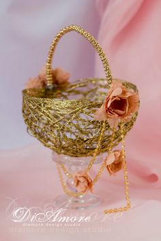 Flower Girl Basket\Peach and Gold wedding basket\Bridal Basket\ Gold Glass Beads\Flower Girl\Luxury Traditional\Flower Basket\1 pcs\