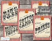 30 Vintage Circus Game/Carnival Signs Posters - Classic Combo - INSTANT DOWNLOAD - Printable Birthday Party Decorations by Sassaby