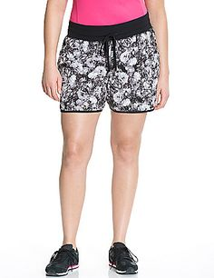 Performance Stretch floral woven active shorts by Livi Active | Lane Bryant