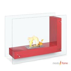 """Moda Flame Arta Contemporary  Indoor Outdoor L Shaped Ethanol Fireplace    Arta ethanol contemporary ethanol fireplace is a transparent model visible from any angle in the room. Its double sided tempered glass, connected to an """"L"""" shaped steel body, gives the effect of a floating flame. It's design is both simple and imaginative and will enhance any room setting."""