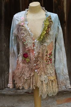 Unique extravagant blouse or jacket, hand dyed in shades of sand, blush, rust, oatmeal, dusty blues, .has been reworked with textiles mix with