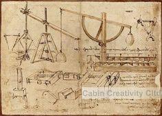Leonardo Da Vinci manuscript,Stone War Machine, Abstract painting ...