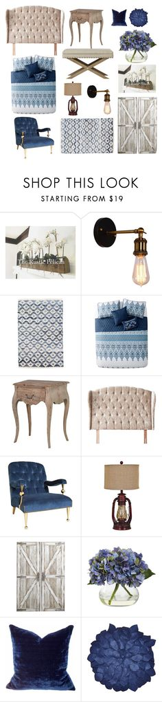 """""""Rustic Bedroom"""" by locallysewntextiles ❤ liked on Polyvore featuring interior, interiors, interior design, home, home decor, interior decorating, Dash & Albert, Jonathan Adler, Crestview Collection and Pier 1 Imports"""