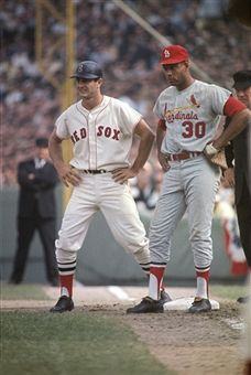 1967 World Series Boston Red Sox Carl Yastrzemski on first base vs St. Louis Cardinals Orlando Cepeda during game at Fenway Park. Best Baseball Player, Baseball Star, Better Baseball, Baseball Photos, Baseball Cards, Boston Sports, Boston Red Sox, Boston Baseball, Cardinals Baseball
