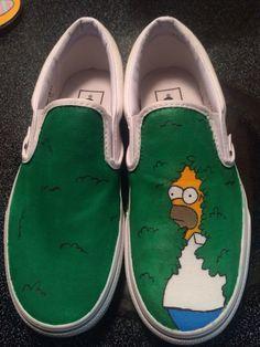Perfect for Simpsons fans! Painted Canvas Shoes, Custom Painted Shoes, Painted Jeans, Painted Clothes, Hand Painted, Custom Vans Shoes, Aesthetic Shoes, Shoe Last, Hype Shoes
