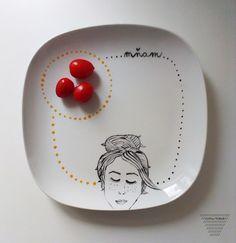 ručně malovaný talířek - bublina