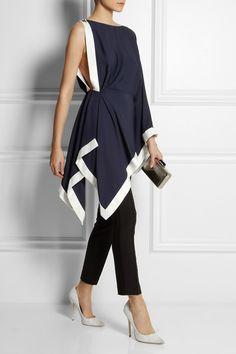 Navy jersey-crepe Hook-fastening shoulder, gold pyramid stud, kimono sleeve, side split, asymmetric hem, white silk-satin trims Concealed button and hook fastening at side Fabric1: 100% viscose; fabric2: 61% acetate, 35% viscose, 4% elastane; fabric3: 100% silk Dry clean Designer color: Ribes/ Off White