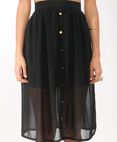 Buttoned Midi-Length Chiffon Skirt..#sheer #summer