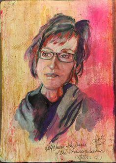 "Watch and Beware: 10""X12"" Journal Paper by Jan Paron, 2015 (Self Portrait)"