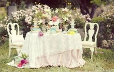 Alice in Wonderland garden tea party