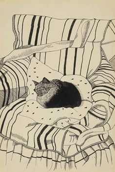 The Sleeping Cat - Lucian Freud (b. The Sleeping Cat signed 'Lucian Freud' (lower left) ink and pencil on paper laid down on card x x Executed circa 1944 Lucian Freud, Sigmund Freud, Art And Illustration, Cat Illustrations, Cat Drawing, Painting & Drawing, Oeuvre D'art, Cat Art, Sketches
