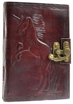 "Hand tooled blank leather journal with an embossed Unicorn on both of the leather covers. Border embossing may vary. Sizes vary slightly. Leather, handmade paper. 280 pages, latch closure. 5"" x 7"""""