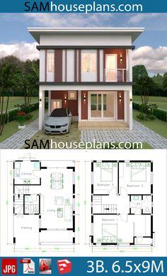 Model House Plan, Dream House Plans, House Floor Plans, Home Building Design, Home Design Plans, Plan Design, Flat Roof House, House Construction Plan, Simple House Design