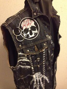 Vests by Chad Cherry from Chad Cherry Clothing< 💜💜💜💜💜😍😍😍😍😍. Metal Fashion, Punk Fashion, Diy Clothing, Custom Clothes, Punk Outfits, Cool Outfits, Rock Style, My Style, Punk Jackets