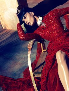 Under The Twilight Sky Crystal Renn by Camilla Akrans for Vogue Japan June 2012