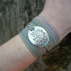 Tree of Life Bracelet, Yoga Jewelry, Silver & Silk Wrap Bracelet- Artisan Crafted Recycled Fine Silver