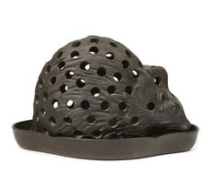 A Wedgwood Basalt Hedgehog Crocus Pot and Tray.