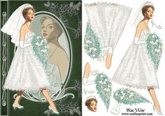 Fifties Bride Fashion Reflections Decoupage on Craftsuprint designed by Sue Way - A stylish card front in shades of green, with an elegant lady in a fifties style lace bridal dress, holding a beautiful big bouquet of flowers. She is wearing a pretty short veil. She has her reflection in cameo that is framed by a pretty fan design. Includes step by step layers to give your card depth. Perfect for ladies of any age, for a wedding, engagement or birthday. - Now available for download!