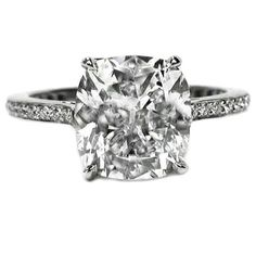 Engagement Ring - Cushion Diamond Cathedral Engagement Ring 0.33 tcw. In 14K White Gold - ES539WG