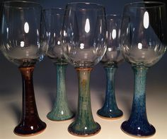 Handcrafted Pottery Wine Glasses Handmade Glass Set Goblets Unique Blue Brown Red White Wine Wedding Gift Bridal Shower Ceramic Chalice Art