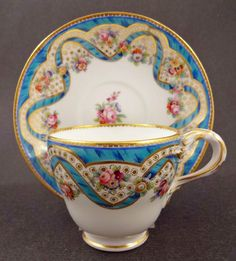 Beautiful Antique Minton Sevres Style Tea Cup Saucer