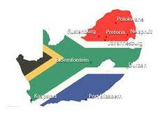 kaart Zuid Afrika in de kleuren van de vlag