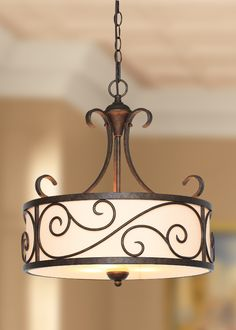 Scrolling metal accents this elegant pendant light. http://www.menards.com/main/lighting-fans/indoor-lights/pendants/prescott-3-light-18-in-diameter-light-brown-pendant/p-1964050-c-7245.htm?utm_source=pinterest&utm_medium=social&utm_campaign=lovelylighting&utm_content=pendant&cm_mmc=pinterest-_-social-_-lovelylighting-_-pendant