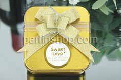 Hochzeit Süßigkeitkasten, mit Satinband, Quadrat, Spritzlackierung, goldfarben, frei von Nickel, Blei & Kadmium, 65x65x38mm