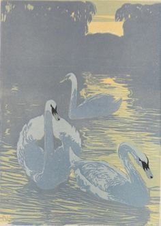 """Swans in Park"" - Hans Neumann, Jr. (German, 1873-1957)  - woodcut in colors (ca. 1920-1930)"