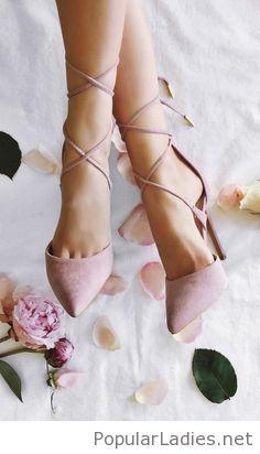 light-pink-lace-up-high-heels