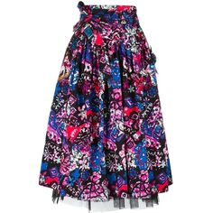 Marc Jacobs Daisy belted skirt (15 720 UAH) ❤ liked on Polyvore featuring skirts, black, floral midi skirt, pleated skirt, high-waisted skirts, high-waisted midi skirts and knee length pleated skirt