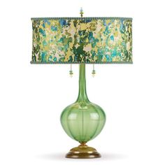 Kinzig Design Ariel Table Lamp 162 AJ 140 Colors Green Blown Glass Base With Green And Blue Silk Shade Artistic Artisan Designer Table Lamps Design Minimalista, Large Lamps, Bright Homes, Unique Lamps, Bedroom Lamps, Design Furniture, Furniture Removal, French Furniture, Contemporary Furniture