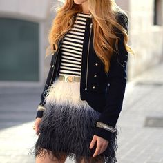 I want to be wearing this outfit (especially the ombre feather skirt) today (like right meow), and every day, for as long as we both shall live! And hopefully I'll last longer than the skirt, but that totally depends on the quality and construction of the skirt ;-).