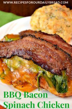 BBQ Bacon Spinach Chicken Breast http://recipesforourdailybread.com/2014/02/18/bbq-bacon-spinach-chicken-breast/